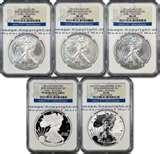 images of 25th Anniversary Silver Eagle 5 Coin Set