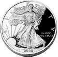 photos of 2004 Silver American Eagle Coin Value