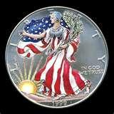 pictures of 1999 American Eagle Silver Dollar Colorized